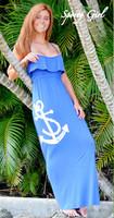 BLUE MAXI Long Anchor Ruffle Dress