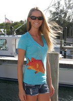 BLUE Burnout v-neck Hogfish t-shirt