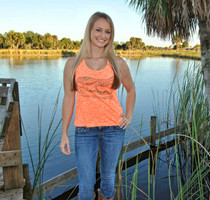 Neon Orange Slit back Gator skull tank top