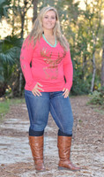 Coral women's plus size big buck long sleeve top