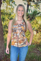 Orange Sporty Girl Camo Tank Top