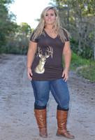 Brown Women's Plus Size deer head top