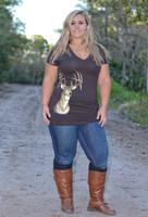 Brown Women's Plus Size deer head top
