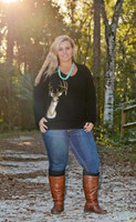 Ladies plus size Black knit Big buck long sleeve top