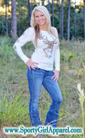 cream thermal with metallic brown buck head