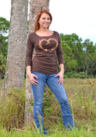 3/4 sleeve Brown reversible heart antler top