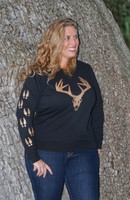 Plus Size Black crew neck sweater with gold glitter big buck skull