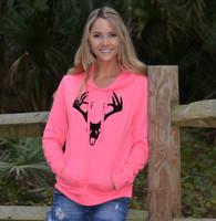 Neon Pink pullover hoodie with black velvet deer skull