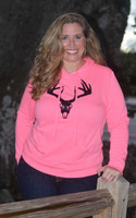 Plus size Neon Pink pullover hoodie with black velvet deer skull