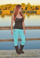 Mint with brown glitter deer skull pants 35% OFF
