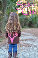 Little Girls Brown ziip hoodie with neon pink deer skull