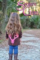 Little Girls Brown ziip hoodie with neon pink deer skull