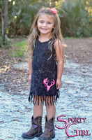 Cute baby and toddler black with pink deer skull dress