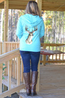 Women's mint deer head  long sleeve zip hoodie