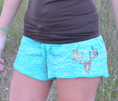 Cute deer skull hunting lounge shorts