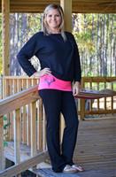 Black Glitter deer skull  yoga pants with pink contrast band
