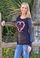 Black long sleeve  Antler Heart shirt