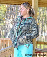 Teal outline mossy oak camo zipper hoodie