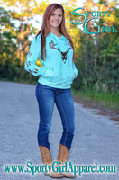 Mint hooded sweater with Sparkling Brown deer skull