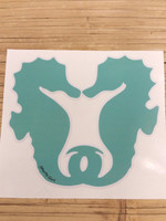 Smaller minty green kissing seahorse decal