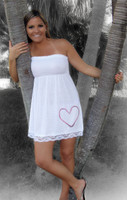 white heart hook tunic dress