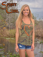 LARGE ONLY Vintage camo tank with orange heart hook and antler