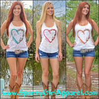 Heart Hook and Antler white burnout racer back tank top