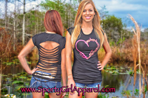 SEXY Cut Out back Black shirt with pink heart hook and antler design