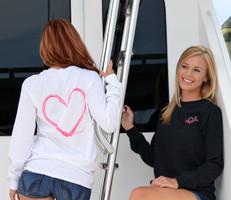 Fishing Heart Hook long sleeve sporty girl shirts