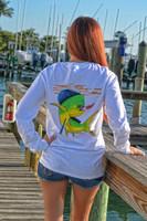 White Dolphin Long sleeve fishing pocket shirt