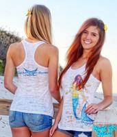 White Mermaid burnout racerback tank top