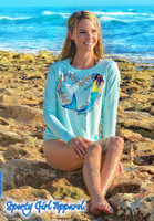 SEAFOAM Starfish heart Mermaid ladies fit sunscreen shirt
