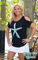 Black cut out sleeve starfish  loose fitting top