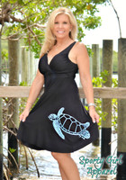 Womens Black sea turtle dress