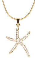 Gold crystal starfish necklace