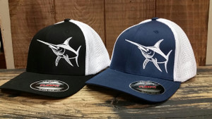 Mens Mesh back fitted Flex fit Navy or Black  with white SWORDFISH