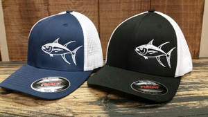 Mens Mesh back fitted Flex fit Navy or Black  with white TUNA