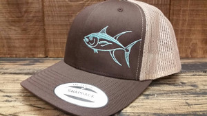 Seafoam TUNA on a two toned brown snapback adjustable hat