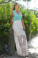 LONGER LENGTH  Teal with Cream bottom maxi dress