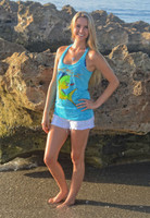 Tahiti BLUE FISHING  Dolphin Racer Back Tank