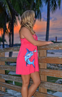 Coral shorter style MARLIN  dress