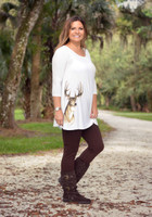 SMALLS LEFT Cream white loose fitting Deer head tunic
