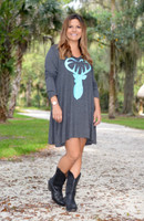Plus size long sleeve mint buck heart dress