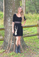 Black Deer Dress with  LACE detail front  30% OFF