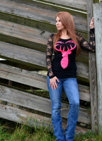 Sexy Lace back long sleeve with neon pink buck heart