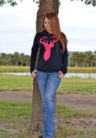 Black long sleeve lightweight pink buck heart hoodie