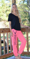 Sporty Girl Neon Pink sweat pants with Skull
