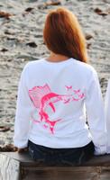 White Hot Pink Sailfish womens longsleeve pocket fishing shirt