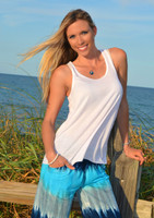 WHITE Ladies' Flowy racerback tank