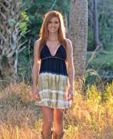 Tie Dye brown and black crochet halter top dress